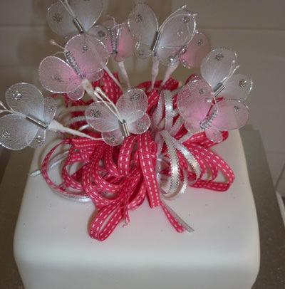 Wedding cake with butterflies.