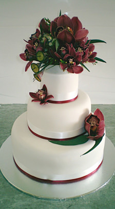 Wedding cake with orchids.